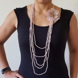 NWT Pink beaded necklace with flower pin